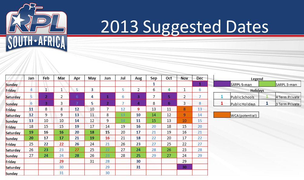 SARPL 2013 Suggested Dates